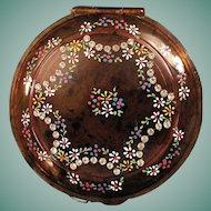 Vintage Mavco Faux Tortoise Compact Decorated With Rhinestones And Enamel Painted Flowers