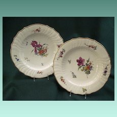 Antique Pair Royal Copenhagen Porcelain Plates With Hand Painted Floral Decoration And Gilt Rims