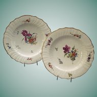 Antique Pair Royal Copenhagen Porcelain Plates With Hand Painted Floral Decoration And Gilt Rims