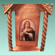 Antique French Brass Devotional With Hand Painted Porcelain Portrait Of The Holy Mother