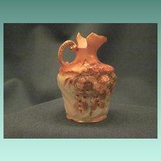 Vintage Miniature Porcelain Pitcher With Floral And Gilt Decoration