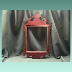 Antique Federal Mahogany Fretwork Mirror Frame With Original Backboard