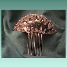 Vintage Celluloid Back Comb With Pierced Art Deco Design