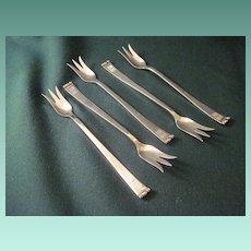 Vintage Allan Adler Sterling Handmade Five Seafood Forks In The Modern Georgian Pattern