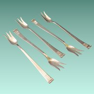 Vintage Allan Adler Sterling Handmade Five Seafood Forks In The Modern Georgian Pattern