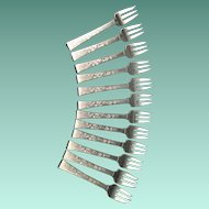 Sterling Hans Hansen Danish 12 Small Hors D'oeuvre Or Seafood Forks