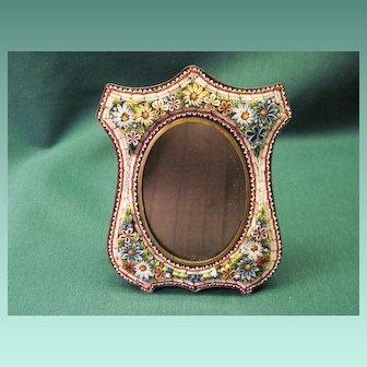 Antique Victorian Dimensional Floral Mosaic Picture Frame