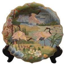 Vintage Chinese Cloisonne Dish With Red-Headed Cranes And Prunus Blossoms With Stand