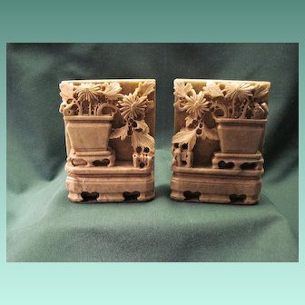 Antique Pair Chinese Soapstone Bookends With Vase And Foliage Decoration