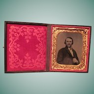Ferrotype of Man In Gilt Frame and Stamped Leather Case