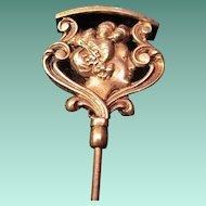 Portrait Art Nouveau Brass Hatpin