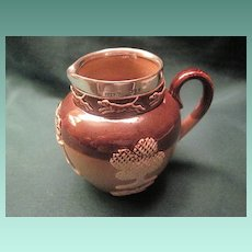 Antique Doulton Stoneware Pottery Pitcher With Silver Mount