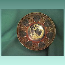 Antique Japanese Cloisonne Bowl With Dragon Holding A Flaming Pearl