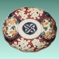 Vintage Oriental 19th Century Japanese Imari Porcelain Plate With Flowers And Dragons And Carved Rosewood Stand