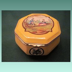 Vintage French Faience Hand Painted Box With Brass Mounts