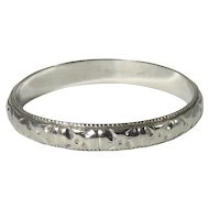 Art Deco 18K White Gold Floral Embossed Wedding Band