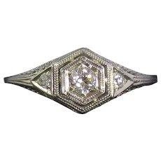 Art Deco 18K White Gold Diamond Filigree Engagement Ring