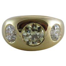 Retro Gent's 14K Yellow Gold Three Stone Diamond Ring