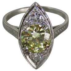 Exquisite Edwardian Platinum GIA 1.62 Carat Fancy Light Yellow Diamond Engagement Ring