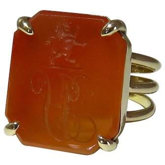 Vintage 14K Yellow Gold Intaglio Ring