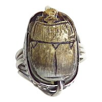 Vintage Sterling Silver Brown Scarab Ring