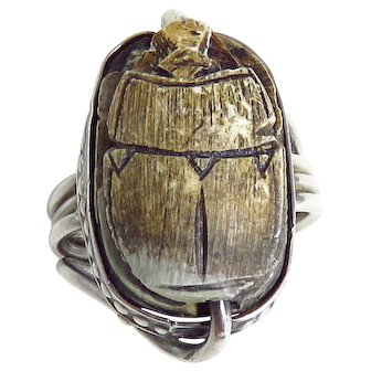Vintage Sterling Silver Brown Scarab Ring