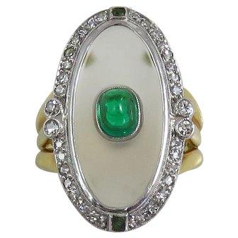 Vintage 18K Rock Quartz Crystal, Emerald and Diamond Ring