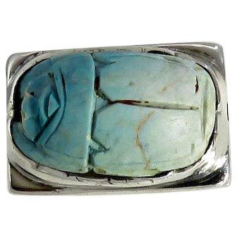 Vintage Sterling Silver Robin Egg Blue Scarab Ring