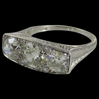 Art Deco Platinum Three Stone Diamond Engagement Ring