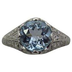 Art Deco Platinum Aquamarine and Diamond Engagement Ring