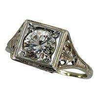 Art Deco 14K White Gold .82 Carat Filigree Engagement Ring