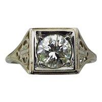 Art Deco 14K White Gold .82 Carat Filigree Diamond Ring