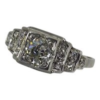 Art Deco 14K White Gold .58 Carat Diamond Engagement Ring