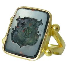 Estate Elizabeth Locke 19K Yellow Gold Bloodstone Intaglio Ring