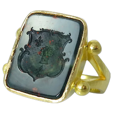 Estate Elizabeth Locke 19K Yellow Gold Bloodstone Intaglio Ring