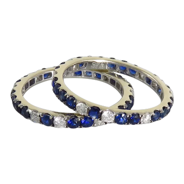 Pair Of Estate 18K White Gold Blue Sapphire and Diamond Eternity Bands