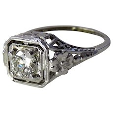 Art Deco 14K Filigree Diamond Engagement Ring