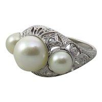 Platinum Art Deco Three Pearl and Diamond Filigree Ring