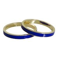 Pair of Vintage 14K Yellow Gold Blue Enamel Bands