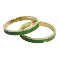 Pair of Vintage 14K Yellow Gold Green Enamel Bands