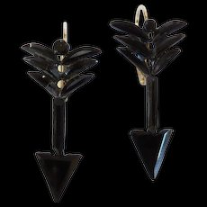 Victorian French Jet Arrow Earrings - Red Tag Sale Item