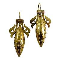 Victorian 15 Karat Yellow Gold Etruscan Revival Earrings