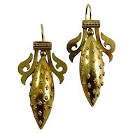 Victorian 15 Karat Yellow Gold Etruscan Revival Earrings