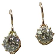 Victorian 10K Rose Gold 1.40 Carats Total Old European-Cut Diamond Earrings