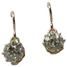Victorian 10K Rose Gold 1.40 Carats Total Old European-Cut Diamond Earrings