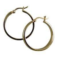 Polished 14K Yellow Gold Flat Hoop Earrings