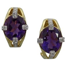 Estate 14K Yellow And White Gold Amethyst And Diamond Earrings