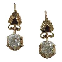 Victorian 10K Rose Gold 1.48 Carats Diamond Earrings