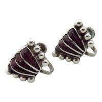 Vintage Mexican Sterling Silver Purple Glass Earrings
