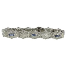 Art Deco 10K White Gold Filigree Bracelet